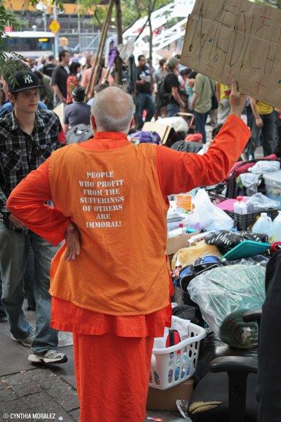 Dada Pranakrishnananda protesting at Occupy Wall Street Hey Yoga Man